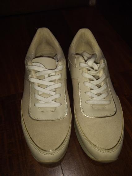 Zapatillas Mujer Bershka T37 Crudo C/plataforma Casi Nuevas