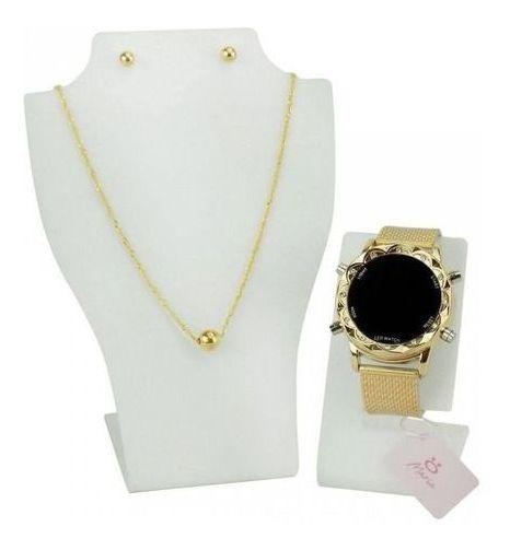 Relógio Feminino Led Digital Original Dourado Caixa Colar