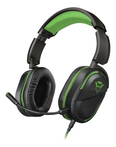 Headset Gamer Trust Gxt Legion Preto Verde Com Fio Xbox One
