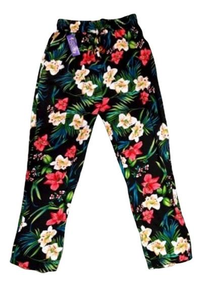Pantalón Floreado Recto Viscosa Cintura Elastizada Verano