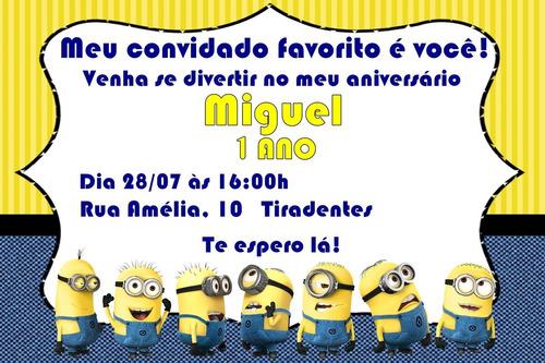 Convite Digital Aniversário Minions!!!