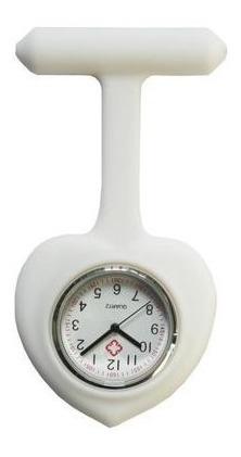 Kit 6 Uni Relógio Lapela Silicone Enfermeiras Coração Branco