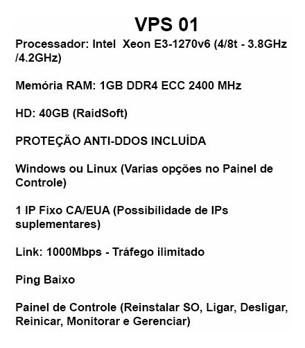 Servidor Vps Windows Linux - 1gb - 4ghz - 1gbps - Ilimitado