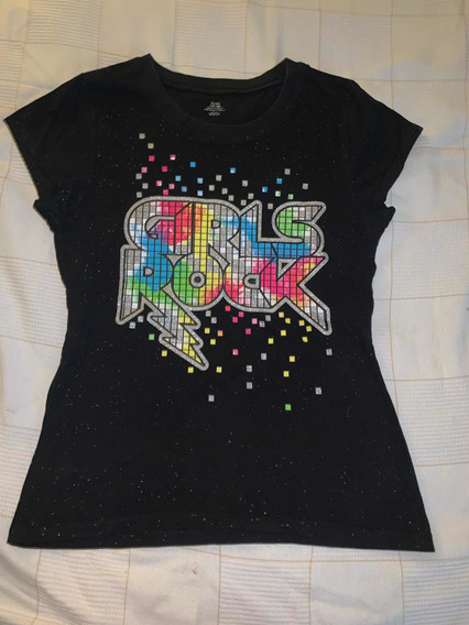 Remera Negra Estampada Brillante Girl Rock Importada