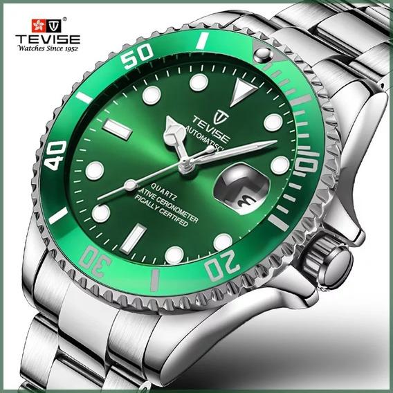 Relógio Tevise Automático Mecânico Inox 801 Verde