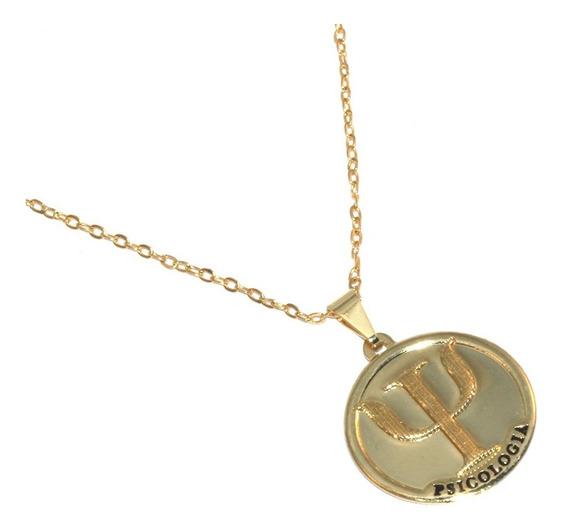 Colar Cordão Medalha Psicologia Psicologa Folheado Ouro