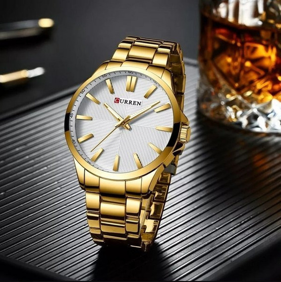 Relógio Masculino Dourado Analógico Original Curren