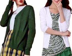 Cardigan Blusa Frio Kit2 Casaquinho Feminino Impostado Top