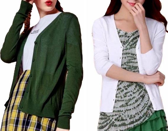 Cardigan Blusa Frio Kit2 Casaquinho Feminino Importado Top