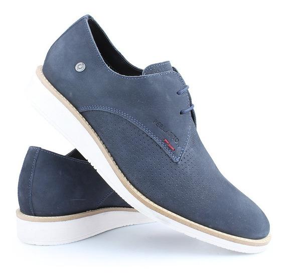 Sapato Casual Oxford Couro Amarração Derby Azul Perlatto