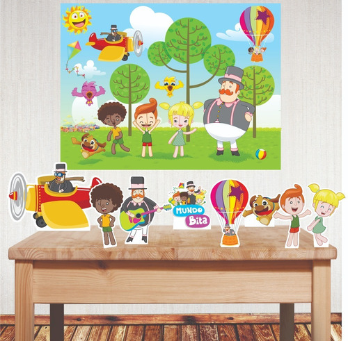 Kit Festa Com Displays E Painel Decorativo Mundo Bita