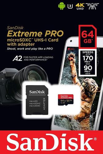 Imagem 1 de 5 de Cartão Memória Sandisk 64gb Extreme Pro Micro Sd Xc 170 Mb/s
