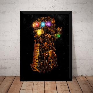 Quadro Poster Moldura Luva Thanos Filme Avengers Vingadores
