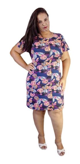 Vestido Moda Evangélica Em Viscolycra Plus Floral Leidiane