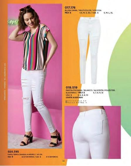 Pantalon/jeans Dama Blanco Roto Terra 019-519 Pv-20
