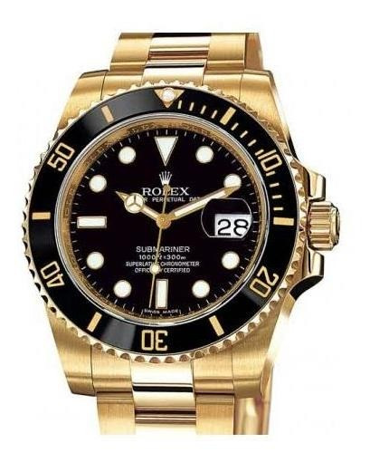 Relógio Daytona Submariner Yellow Gold + Black