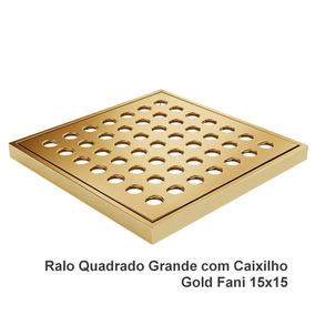 Ralo / Grelha Quadrada Latão Com Caixilho Gold 150 Mm