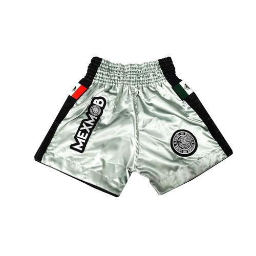 Imagen 1 de 4 de Short Box Kickbox Muay Thai Mexmob Plateado Envio Gratis