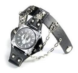 Bracelete Punk Rock Em Couro E Relógio Quartzo.