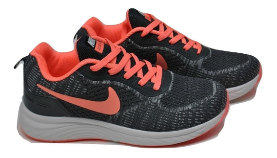 Kp3 Zapatos Damas Nike Air Zoom Gris Salmon Logo Salmon