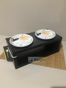 Comedouro Duplo Para Gato Ou Cachorro - Porcelana Japonesa