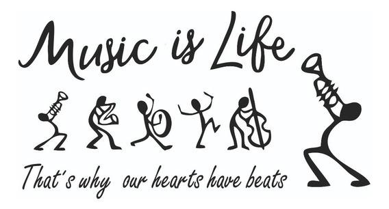 Vinilo Decorativo Frase Pared Music Is Life ,habitación