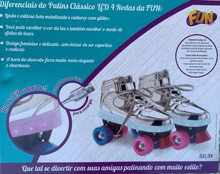Patins Classico Com Led - 4 Rodas 33-34 - Fun Bonellihq S20