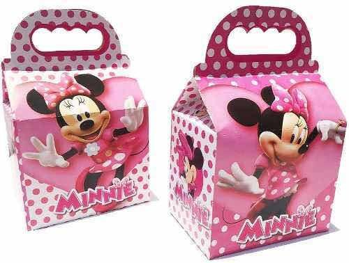 10 Cajas Dulceros Fiesta Minnie Mouse Rosa Bolo