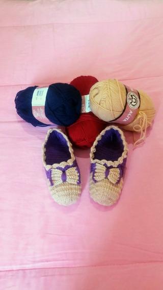 Sapato Pantufa Lã Em Crochê Diversas Cores