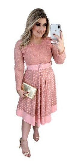 Vestido Moda Evangélica Midi Godê Duplo Tule Suplex+cinto
