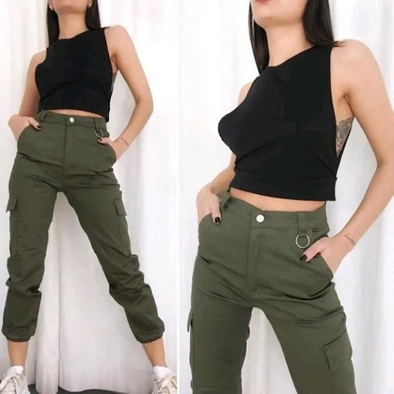 Uchi Char Amerika Pantalon Verde Militar Mujer Con Bolsillos Defiestalinares Es