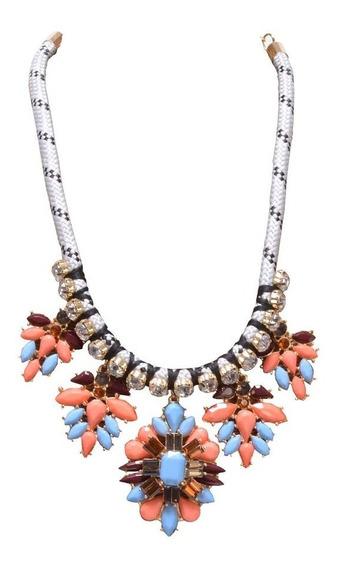 Collar Flores Pastel Azul, Coral Y Negro