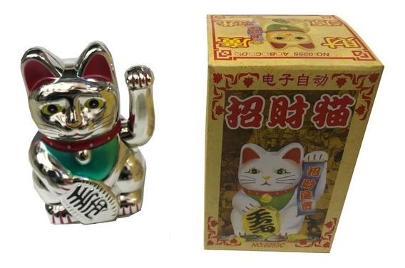 Gato De La Suerte Fortuna 13 Cm Maneki Neko Plateado /dorado
