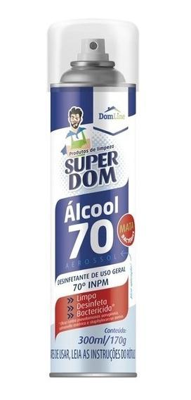 Álcool Spray 70% Antisséptico Certificado 300ml 170g Cód2733