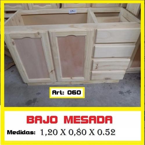 Bajo Mesada De Madera De Pino Macizo  1.20 M