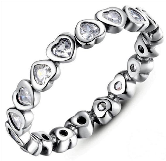 Anel Feminino Estilo Pandora Prata Maciça Coração Brilhante
