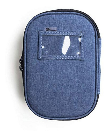 Estojo Escolar Box Jeans Para Canetas Lápis Lapiseiras Azul