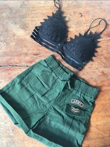 Kit Com 2 Cropped Top+ Shorts Militar P