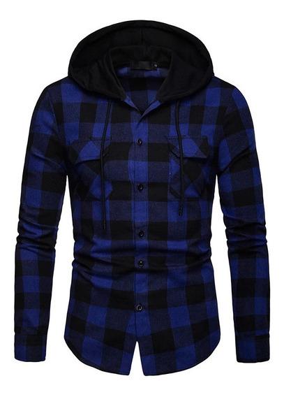 Blusa Camisa Xadrez Com Capuz Slim Jaqueta Masculina Frio