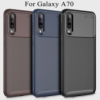 Capa Case Anti Impacto Galaxy A70 Carbon + Película De Vidro