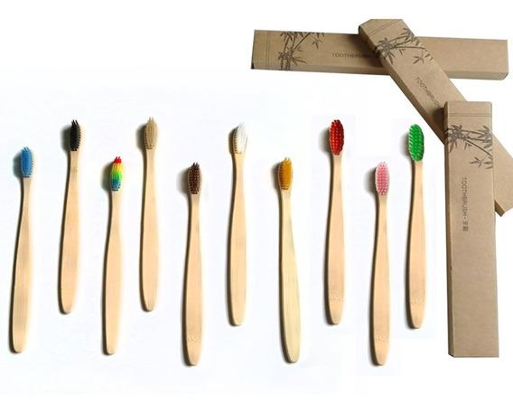 Paquete 50 Cepillo Dientes Bambú Biodegradable Suave