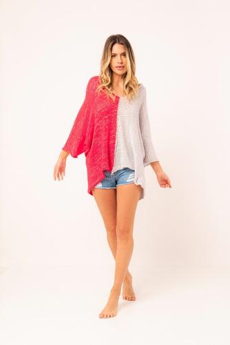 Imagen 1 de 3 de Sweater Bicolor, Sweater De Algodón Y Seda, Sweater Tejido