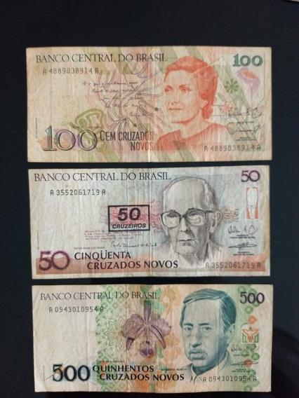 3 Cédulas Antigas Cruzado Novo Antiga Nacional 50 / 100 /500