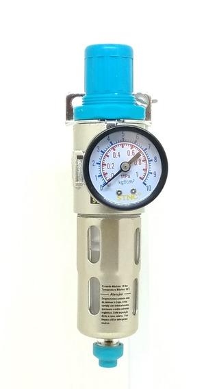 Filtro De Ar Regulador De Pressão 1/4 P/ Compressor Pintura
