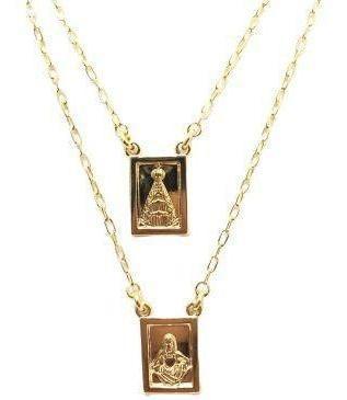 Escapulário Nossa Senhora Com Jesus - Banhado A Ouro 18k
