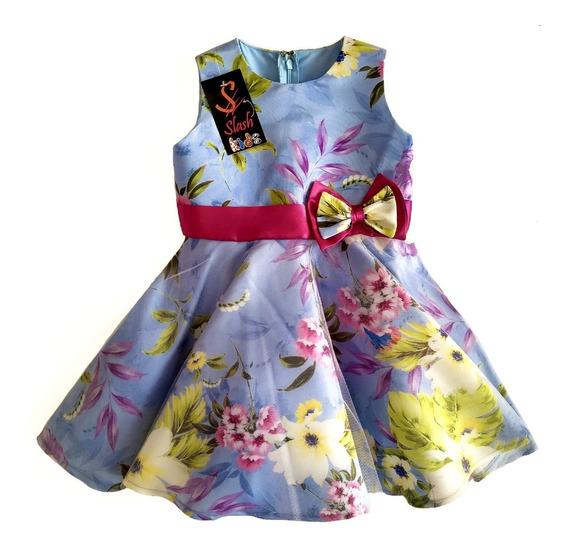 Vestido Clasico Fiesta Floral Con Crinolina Largo Midi Gala