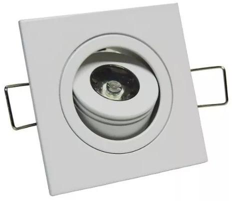 Kit 2 Mini Spot Quadrado Direcionável C Led 1w Branco Quente