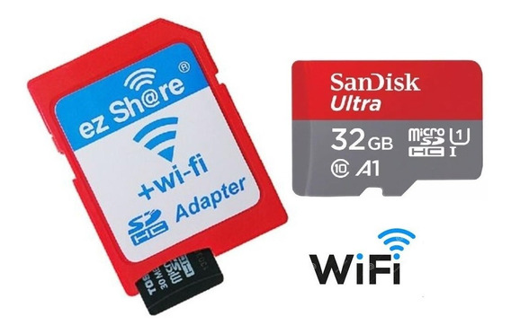 Kit Microsd 32gb Sd Wi-fi Ez-share Sim Toshiba Flashair 98mb