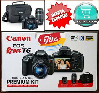 Camara Canon Profesional T6 Kit 2 Lentes +maleta +garantia