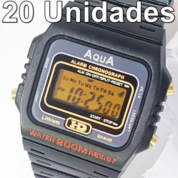 Kit Com 20 Relógios Aqua Aq37 Prova D